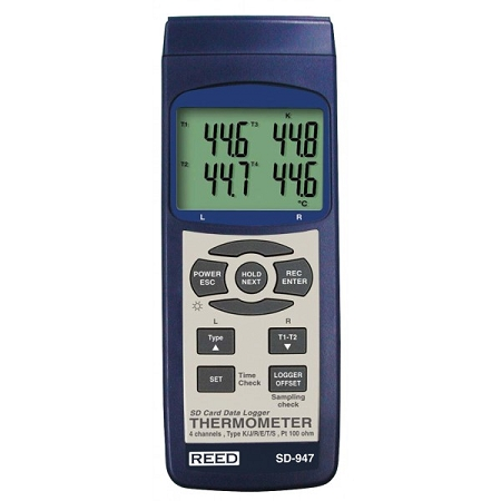 Reed Instruments SD-947DELUXE 4 Channel Thermocouple Thermometer Data Logger Kit